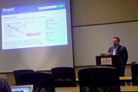 Blake Hall presenting Drupal Social session at CMS Expo 2011